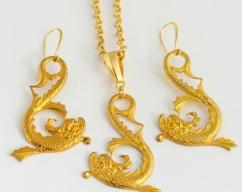 Pisces Jewelry, Vintage Gold Baroque Fish Necklace and Earrings Set, Pisces Zodiac Gift, Gold Baroque Dolphin Earrings, Koi Fish Necklace
