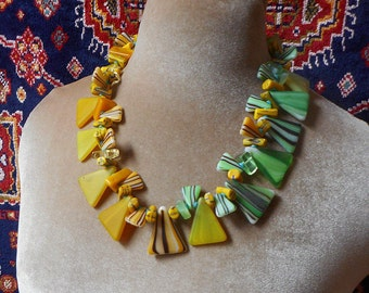 Strong Design, Bold Painterly Look, vintage Czech glass tribal beads