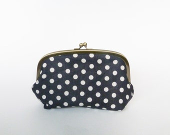 Cosmetic bag, navy blue and cream cotton polka dot fabric, cotton purse