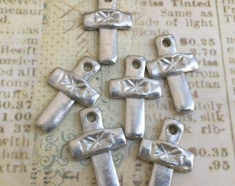 Cross Charms, Cross Jewelry, Christian Cross, Christian Jewelry, Pewter Crosses, Pewter Crosses, Primitive Crosses, Unique Cross Charm