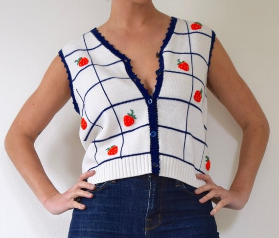 Vintage 70s 80s Strawberry Patch Navy and White Checkered Knit Button Up Vest (size medium)