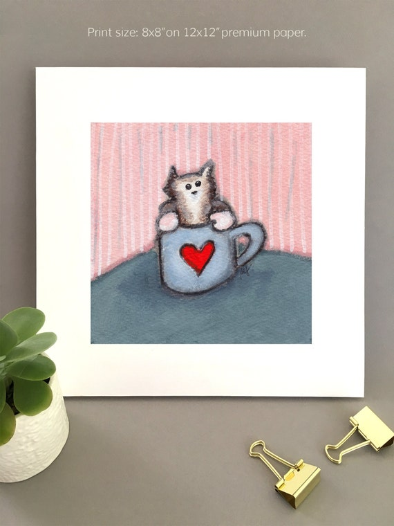 Anniversary gift, kitten in coffee cup print, art print for girlfriend, cat lover gift idea, unique cat artwork, cute valentine decor