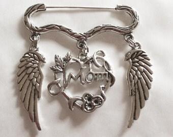 Mom angel wing Memory memorial silver tone brooch pin in memoriam