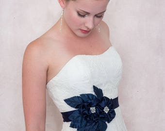 Midnight Garden Navy Silk Flower And Ribbon Sash Bridal Wedding Sash
