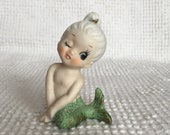 Vintage Mermaid Figurine - Bradley Winking Mermaid With Green Tail - Excellent Condition