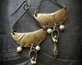 Vintage Stampings, Goddess, Brass Buckets, Boats, Glass, Pearls, Upcycled, Recycled, Vintage Jewelry, Brass Earrings, Dangle Earrings