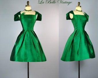 Samuel Winston Green Sailor Dress ~ Vintage 60s Silk Party Dress S ~ Lord & Taylor