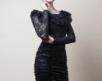Victorian Black Lace Blouse with long Sleeves-Small (Sample Sale)
