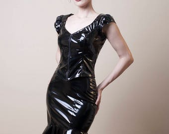 PVC Pencil Skirt with Peplum-Made to order