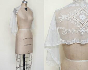 Antique Wedding Wrap --- Edwardian Net Shawl
