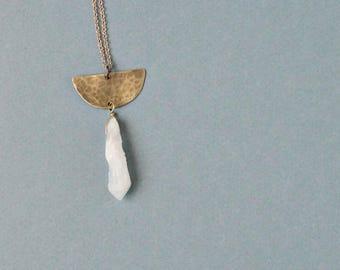 Brass half moon necklace with milky quartz point, mystic quartz necklace, boho gypsy chic