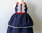 Red White and Blue, Butterfly Dress for Toddler and Girl