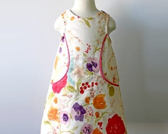 Floral Watercolor Pocket Dress, Toddler and Girl Sizes