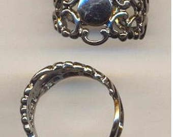Filigree RING Base with Pad 2 Pcs Gunmetal 16mm Filligree