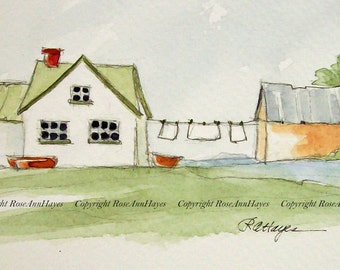 Laundry Room Art Original Watercolor Painting Country Wash Day Cottage Clothesline Gift