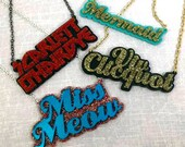 CUSTOM Layered Laser Cut Acrylic Necklace - You Choose the Word and the Color