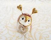 Valentine Fairy Owl Ceramic Sculpture in Plum and Gold