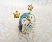 Blue Fairy Owl Ceramic Figurine