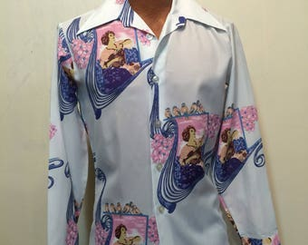 Mens Vintage Shirt Printed Polyester Picture print Disco Campus brand poly print 1970s