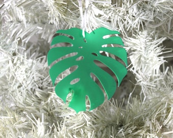 Monstera Leaf Ornament, Laser Cut Acrylic Tropical Holiday Gift Topper, Palm Leaf Christmas Ornament