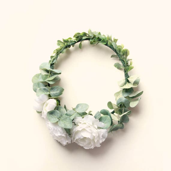 Leafy flower hair wreath, Green and white bridal crown, Peony circlet, Bridal hair wreath, Whimsical wedding accessory, White rose crown