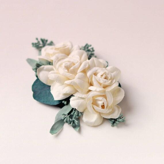 Eucalyptus rose hair clip, Woodland bridal hair, Ivory flower wedding hair comb, Unique bridal, Off white floral clip, Paper cream rose hair