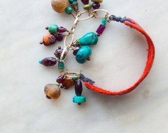 Boho Gypsy Turquoise Gem-Charmed Leather Bracelet Semiprecious Stones Colorful Bracelet Gift for Her Gift for Women Best Friend Gift