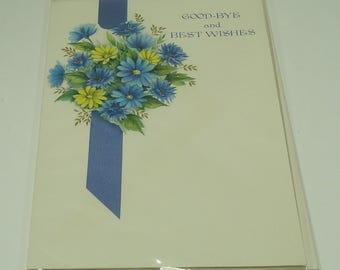 Floral Bouquet Good-bye And Best Wishes Vintage Greeting Card With Envelope