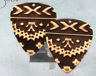Navaho Guitar Pick, Embossed Brass Charm, 2 Pieces, E92