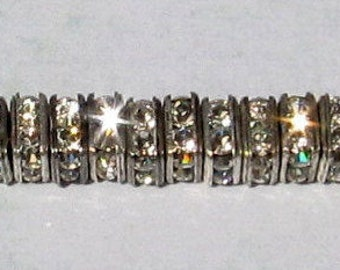 Square Rhinestone Spacer, 4.5 mm, Crystal Antique Silver, 12 Pc. C375