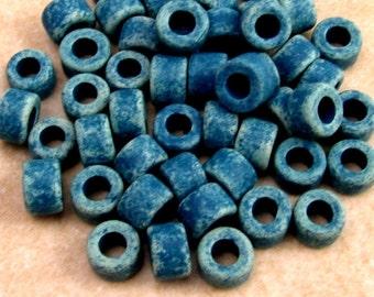 Mykonos Greek Ceramic Beads Mini Tube 6x4 mm, Denim Blue, 50-Pieces M175