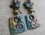 RESERVED Southwest Whimsy ... Artisan-Made Enameled Copper Charms, Mykonos Metal Birds and Copper Wire-Wrapped Boho, Woodland, Bird Earrings