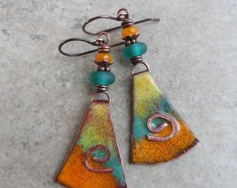Slices of Summer ... Artisan-Made Enameled Copper Charms, Lampwork and Copper Wire-Wrapped Boho, Rustic, Bright, Summery Earrings