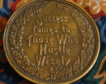"Vintage Belt Buckle, Brass Belt Buckle, Bohemian Boho Style, ""Success comes to those who hustle wisely"""