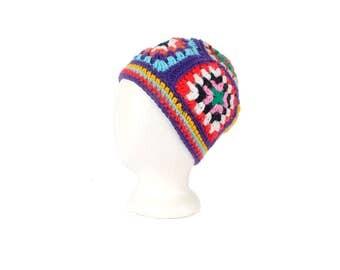Vintage 70s Hat - Crochet Hat - Afghan Hat - 70s Crochet Hat - 70s Beret - 70s Knit Hat - 70s Boho Hat - Knit Cap - Knit Beanie - Afghan Cap