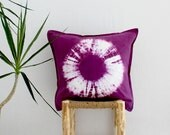 KARMA . tie dye cushion cover . pillow . throw cushion . decorative pillow . throw pillow . maroon purple . boho gypsy hippie tribal chic