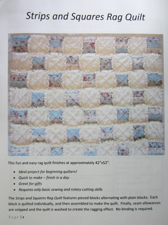 Rag Quilt Pattern For Beginners : Baby Rag Quilt Pattern Easy Quilt Pattern Beginner PDF