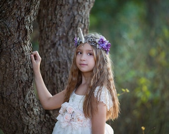 Child Unicorn Crown, Unicorn Headpiece, Unicorn Headdress, Lavender, Wedding, Child Costume Accessory, Fantasy, MLP, My Little Pony