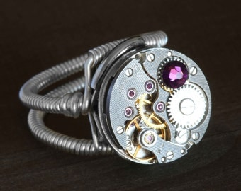 NEW Steampunk Ring - Antique Vintage Watch Movement with Amethyst swarovski Crystal, february