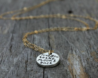 Love you to the moon and back necklace - love token necklace - mixed metals - moon necklace - delicate necklace - layering necklace -