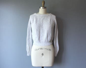 vintage 90s cropped sweater / Italian soft wool pullover / grey knit scoop neck sweater
