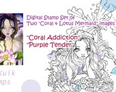 Special Intro Price - Digital Stamp Coral & Lotus Mermaid Set of 2 Images - Instant Download / Ocean Fantasy Fairy Girl by Ching-Chou Kuik