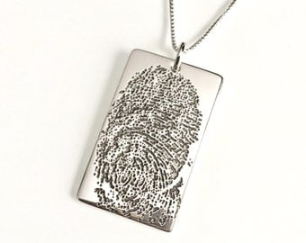 Fingerprint Necklace, Finger Print Charm Pendant, Memorial Jewelry, Handwriting Jewelry, Personalized Keepsake Mothers Day Gift