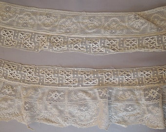 2 Matching Antique Lace Trims 3-4+ inches wide, 3 yards, 1800s 1900s Victorian Edwardian dress trim