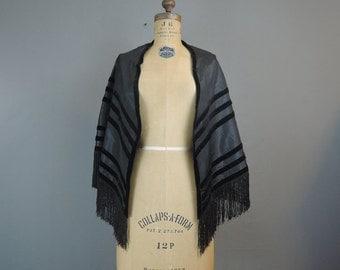 Victorian Black Silk & Velvet Shawl with Fringe, 1800s Taffeta, AS IS