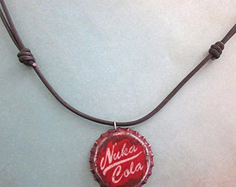 Fallout inspired Nuka Cola bottle cap necklace -Post apocalyptic wasteland wear