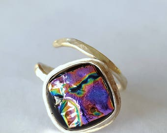 Sterling Silver Ring, Dichroic Glass Jewelry, Wrap Around Ring, Purple Ring, One of a Kind, Contemporary Jewelry, Handmade in USA