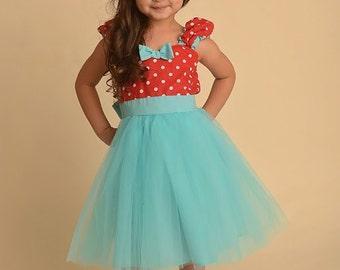Girls dress, birthday dress, retro  flower girl dress, Red dress, Polka Dot dress tutu dress, ROCKABILLY dress, country flower girl, sale