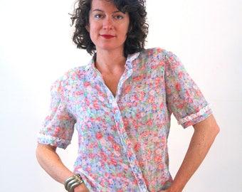 Isabel, 70s Floral Blouse M, Sheer Floral Cotton Blouse, Feminine Vintage Blouse, Girly Boho Lace Trimmed Floral Print Blouse, Retro Top