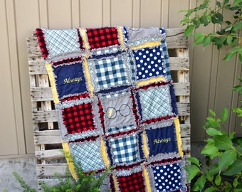 Wizard Baby Quilt in Navy Blue, Gray, and Red - Wizard Blanket - Magic Rag Quilt - Glasses Baby Blanket - Baby Boy Wizard Blanket